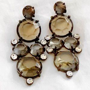 J. Crew Rhinestone & amber Crystal Gem Earrings